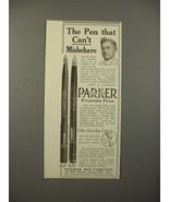 1913 Parker No 20, 42 1/2 Fountain Pen Ad - Misbehave - $14.99
