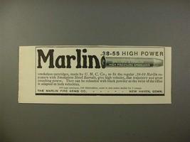 1902 Marlin .38-55 High Power Gun Cartridge Ad - $14.99
