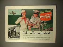 1938 Coca-Cola Soda Ad - Airline Captain, Stewardess - $14.99