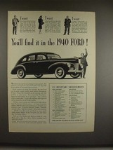 1940 Ford Deluxe Car Ad - You'll Find It! - $14.99