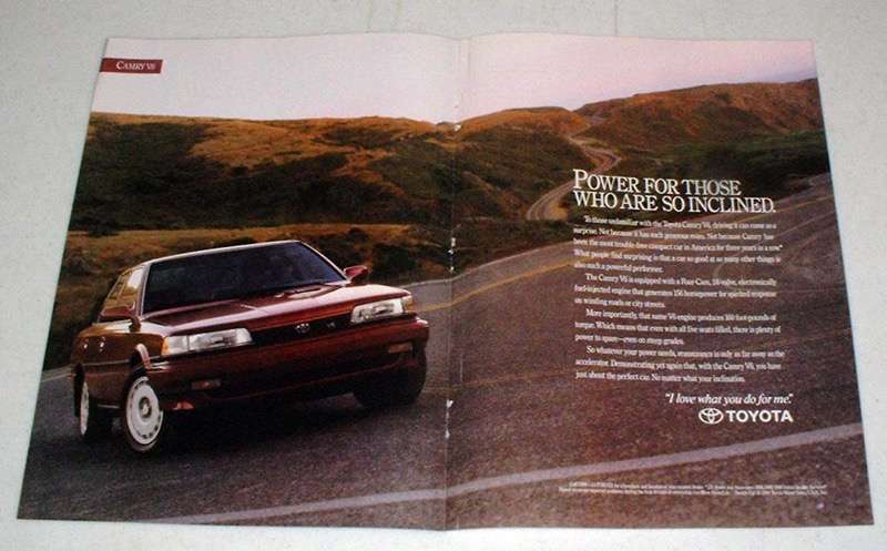 Primary image for 1990 Toyota Camry V6 Car Ad - Power for Those Inclined