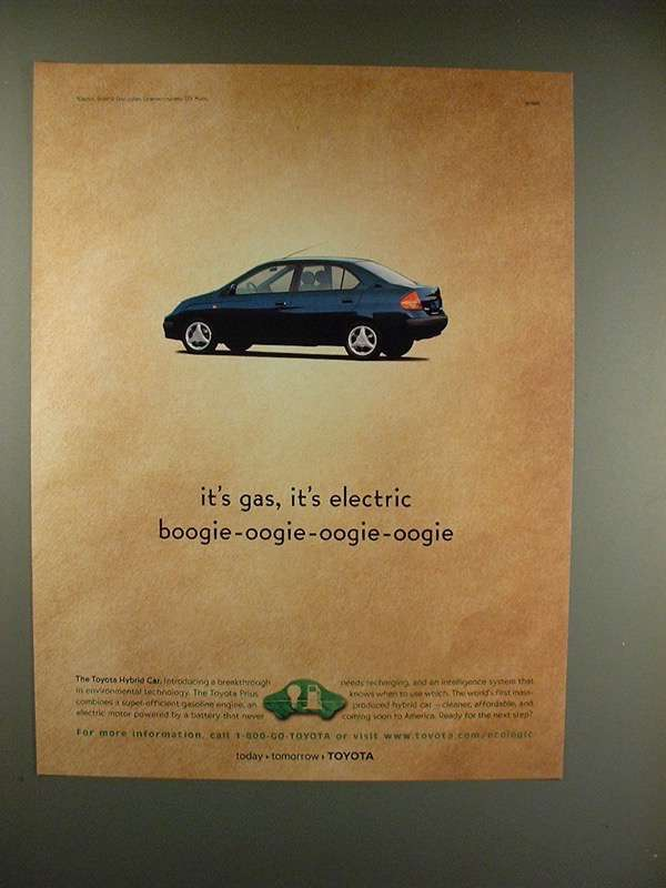 Primary image for 1999 Toyota Prius Car Ad - It's Gas, It's Electric!