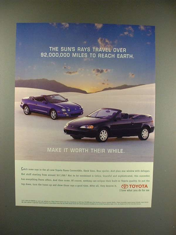 Primary image for 1997 Toyota Paseo & Celica Convertible Car Ad!
