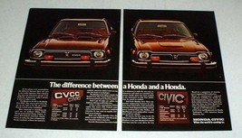 1975 Honda Civic & Civic CVCC Car Ad - Difference! - $14.99
