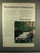 1973 Honda Civic Car Ad - Hatchback of Notre Dame! - $14.99