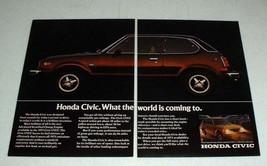 1975 Honda Civic CVCC Car Ad - World is Coming To - $14.99