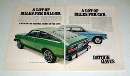 1976 2-page Datsun B-210 Hatchback Car Ad - Lot of Miles - $14.99