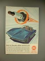 1963 AC Spark Plugs Ad w/ XP-755 Corvette Shark - $14.99