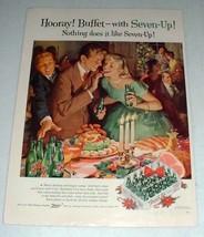 1957 Seven-Up 7-Up Soda Ad - Hooray! Buffet! - $14.99