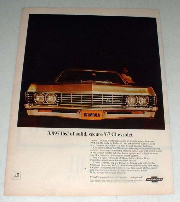 Primary image for 1967 Chevrolet Impala Sport Coupe Car Ad - Solid