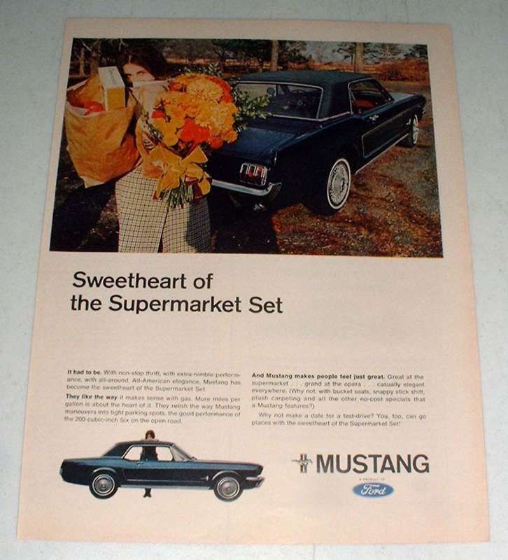 Primary image for 1966 Ford Mustang Car Ad - Sweetheart of Supermarket