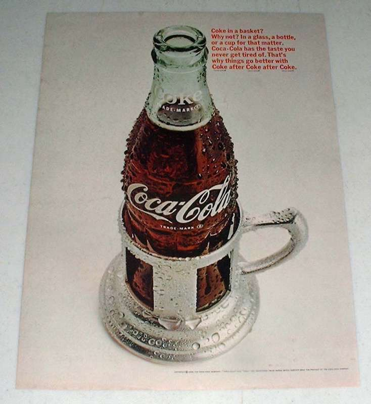 Primary image for 1966 Coke Coca-Cola Soda Ad - In a Basket?