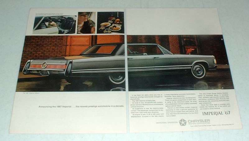 Primary image for 1967 2-pg Chrysler Imperial LeBaron Car Ad - Prestige!