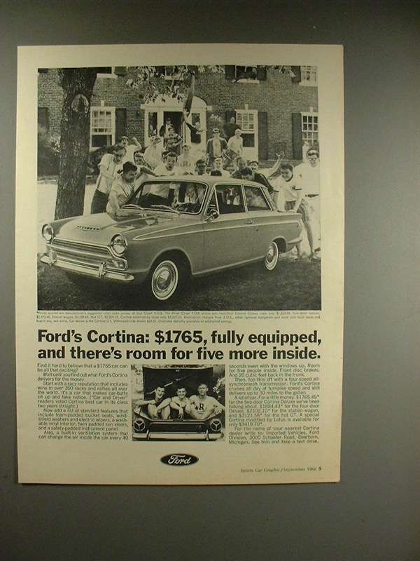 Primary image for 1966 Ford Cortina GT Car Ad - Room for Five More