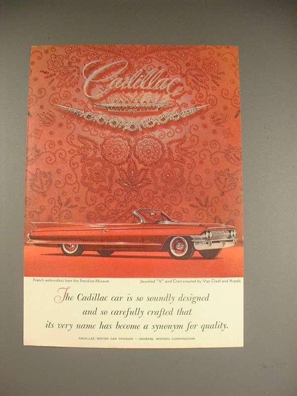 1961 Cadillac Convertible Car Ad - Soundly Designed! - $14.99