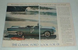1961 Ford Sunliner Convertible Car Ad, Beautifully - $14.99