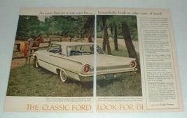 1961 Ford Galaxie Club Victoria Car Ad - Care-Free - $14.99