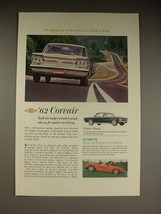 1962 Chevrolet Corvair, Corvair Monza, Corvette Car Ad! - $14.99