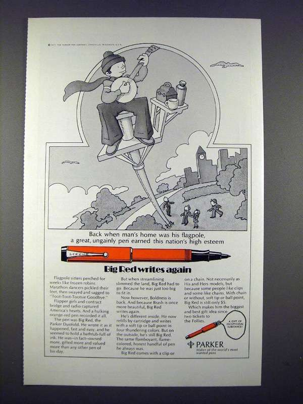 1971 Parker Big Red Pen Ad - Writes Again! - $14.99