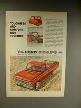 1964 Ford F-100 Pickup Truck Ad - Toughness, Comfort - $14.99