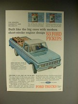 1963 Ford F-100 Pickup Truck Ad - Built Like Big Ones! - $14.99