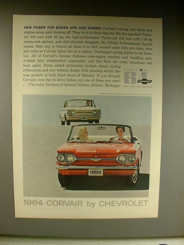 Primary image for 1964 Chevrolet Corvair Monza Convertible, Coupe Car Ad