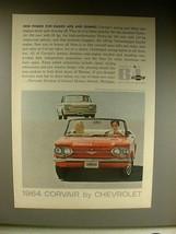 1964 Chevrolet Corvair Monza Convertible, Coupe Car Ad - $14.99