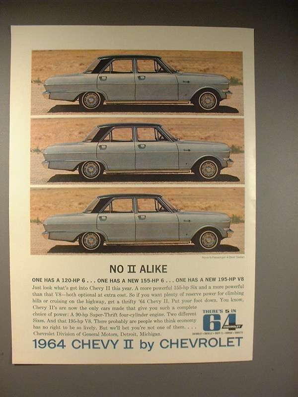 1964 Chevy II Nova 6-passenger 4-Door Sedan Car Ad