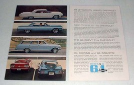 1964 Chevrolet Car Ad: Impala, Corvette, Corvair Monza - $14.99