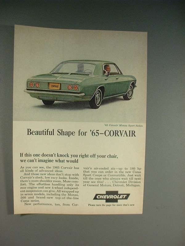 Primary image for 1965 Chevrolet Corvair Monza Sport Sedan Car Ad!