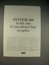 1965 IBM System/360 Computer Ad - Buy On Price - $14.99