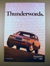 1985 Ford Thunderbird Car Ad - Thunderwords! - $14.99