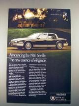 1986 Cadillac Seville Car Ad - Essense of elegance - $14.99
