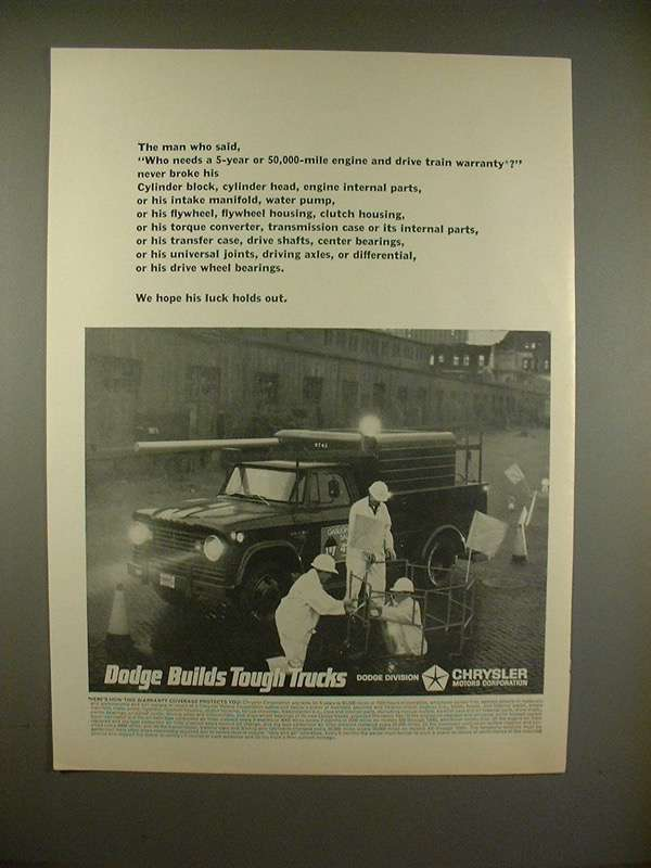 Primary image for 1966 Dodge Truck Ad - Who Needs 5 year Warranty