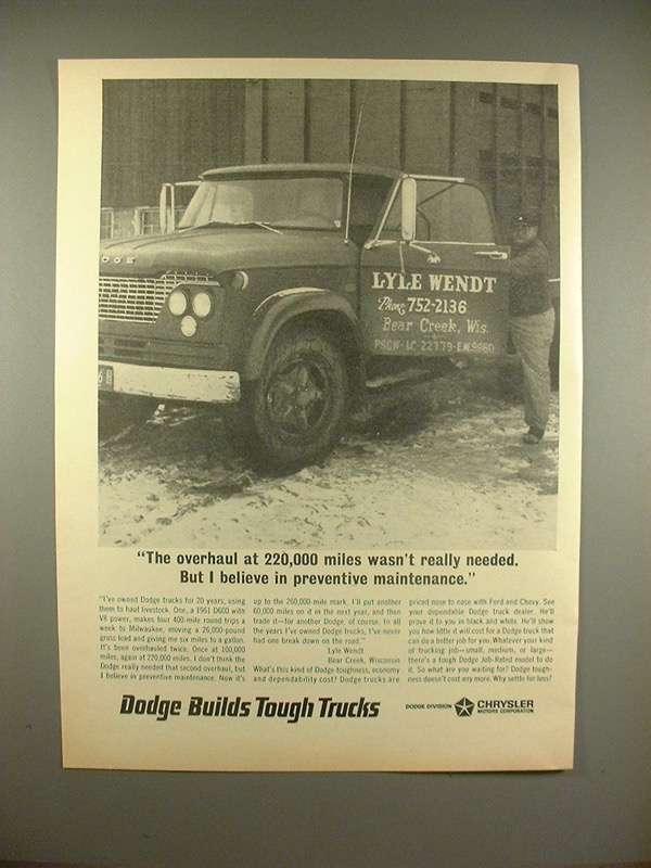 1966 Dodge Truck Ad: Overhaul 220000 Mile Not Necessary