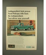 1966 Ford Pickup Truck Ad - Independent Tests - $14.99