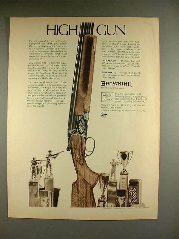 1969 Browning Superposed Shotgun Ad - High and 50 similar items