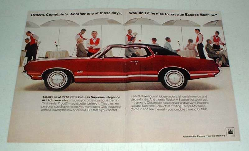 Primary image for 1970 Oldsmobile Cutlass Supreme Car Ad - Escape