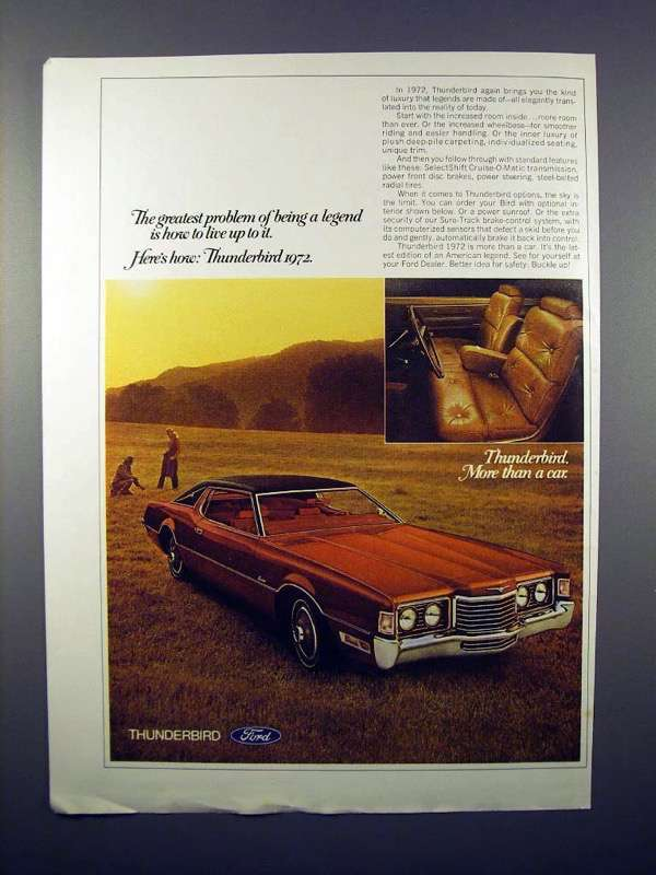 1972 Ford Thunderbird Car Ad - Being a Legend!