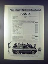 1972 Toyota Corolla 1200 Car Ad - Good Price Stickers - $14.99