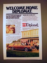 1978 Dodge Diplomat Car Ad - Welcome Home! - $14.99