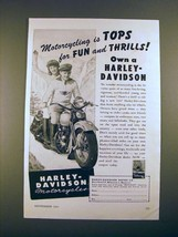 1947 Harley-Davidson Motorcycle Ad - Tops for Thrills - $14.99