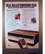 1981 RCA Selectavision 650 VCR Player Ad! - $14.99