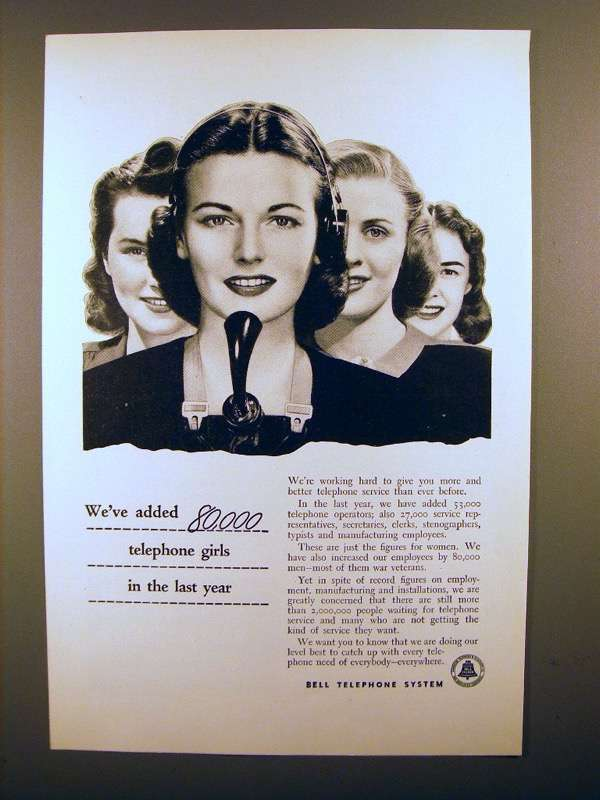 Primary image for 1947 Bell Telephone Ad - We've Added 80,000 Girls