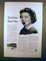 1952 Bell Telephone Ad - The Call That Saved a Plane - $14.99