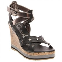 Skechers Cali Women's Bomb Shell Pop Art Wedge Sandal,Black,9 M US - $38.56