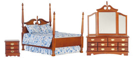 Dollhouse Miniature Victorian Walnut Bedroom Set - $65.83