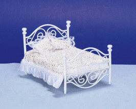 Dollhouse Miniature WHITE METAL BED - $32.17