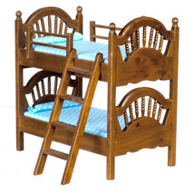 Dollhouse Miniature SPINDLE BUNK BED/WALNUT - $33.17