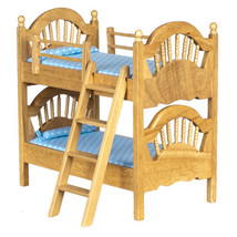 Dollhouse Miniature SPINDLE BUNK BED/OAK - $33.17